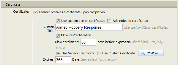 Absorb LMS Course Certification Settings