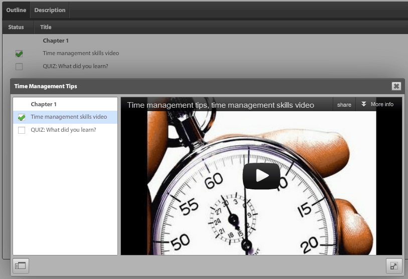 Time Management YouTube Video embedded in Absorb LMS