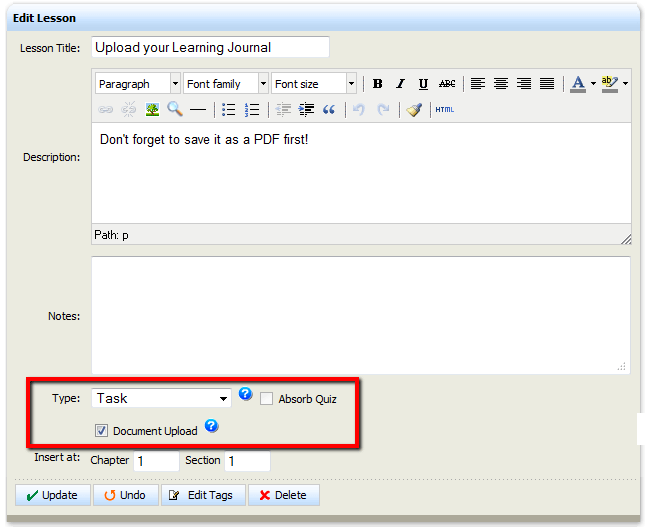Absorb LMS-Upload Learner Journal