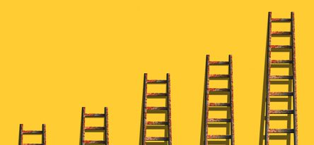 A series of increasingly taller ladders against a yellow wall, demonstrating growth.