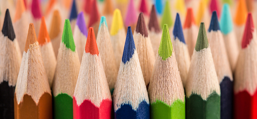 A crowd of brightly colored pencils.