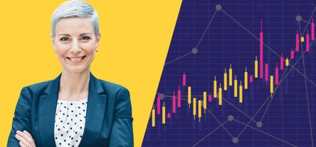 A woman on a yellow background next to a graph on a purple background.