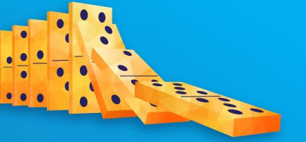 A stack of falling yellow dominoes on a blue background.