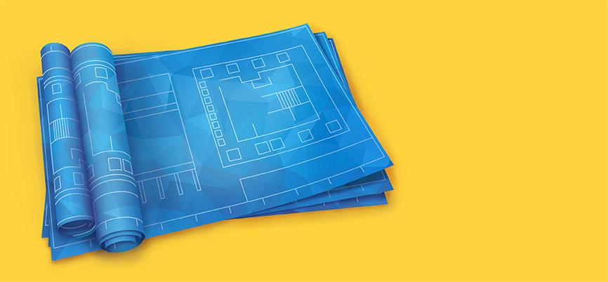 Blueprints on a yellow backdrop