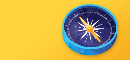 A blue compass with a purple face on a yellow background