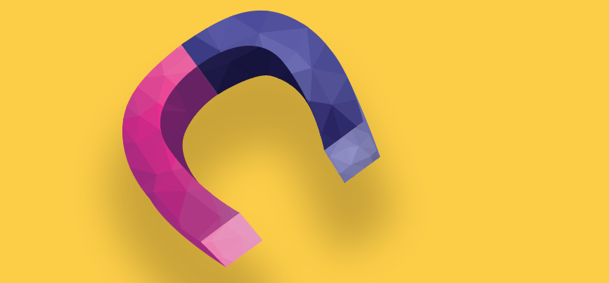 A pink and purple magnet on a yellow background