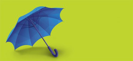An illustration of a blue umbrella on a bright green backdrop.