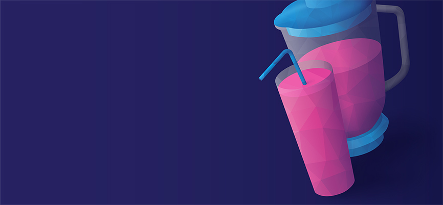 A mixed berry smoothie on a purple backdrop.