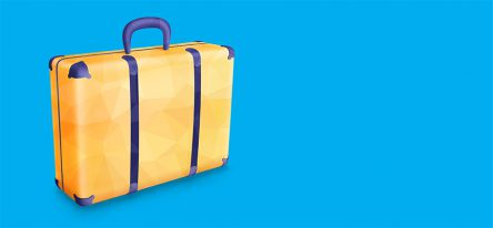 A yellow suitcase on a blue backdrop