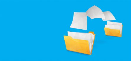 A yellow folder passing white pages to another yellow folder on a blue background