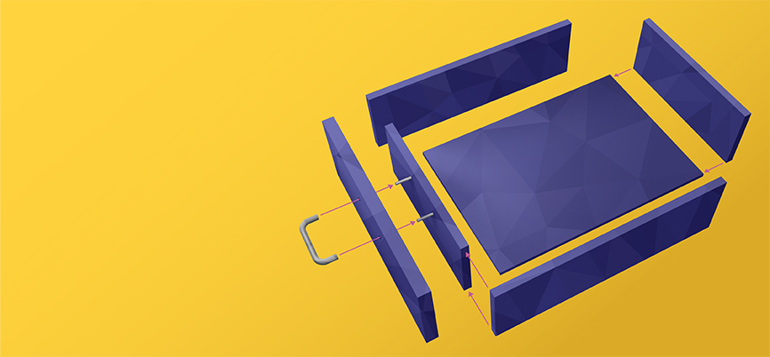 A purple box being assembled on a yellow background.